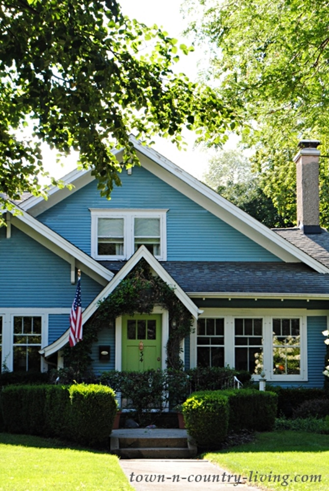 Bright Blue Bungalow with Lime Green Front Door