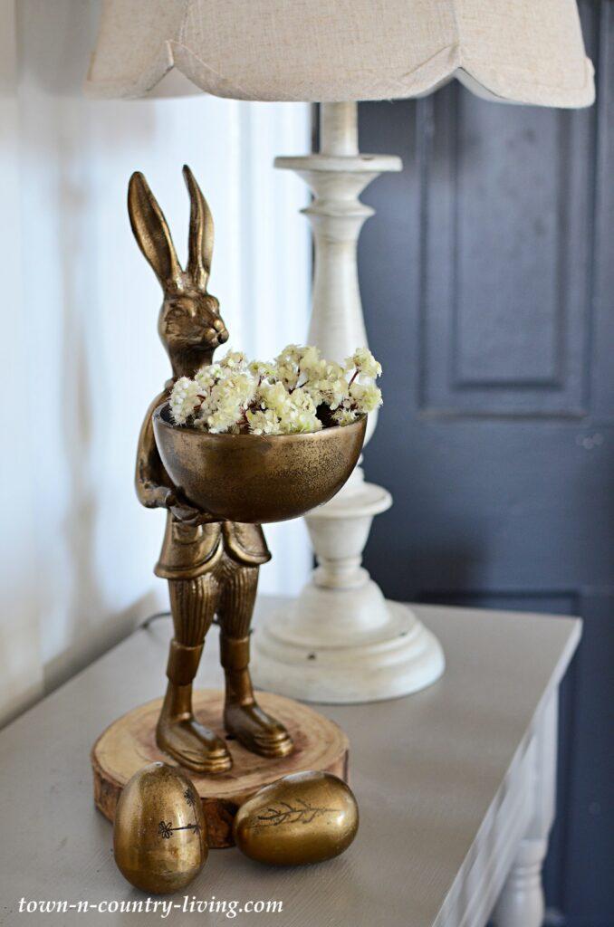 Bronze Rabbit with Bronze Eggs - Spring Home Tour Decor