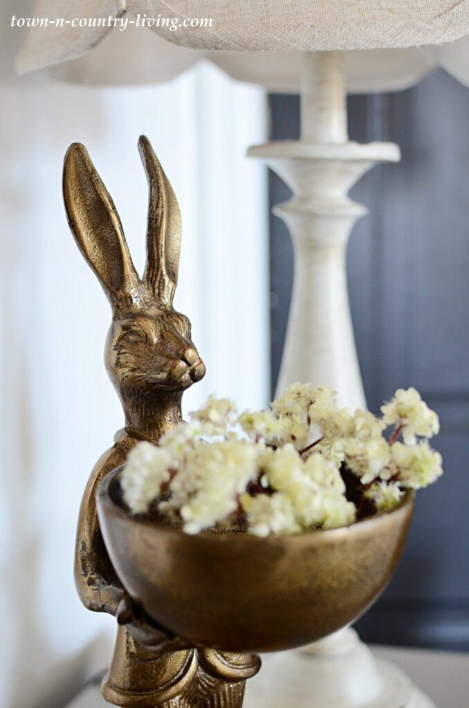 Bronze Rabbit Statue - Spring Home Tour Decor
