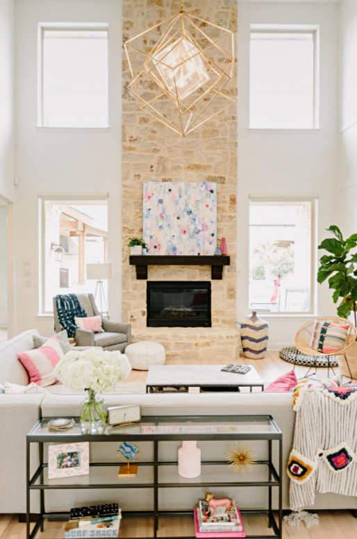 Coastal Style Living Room with Blue and Pink Accents