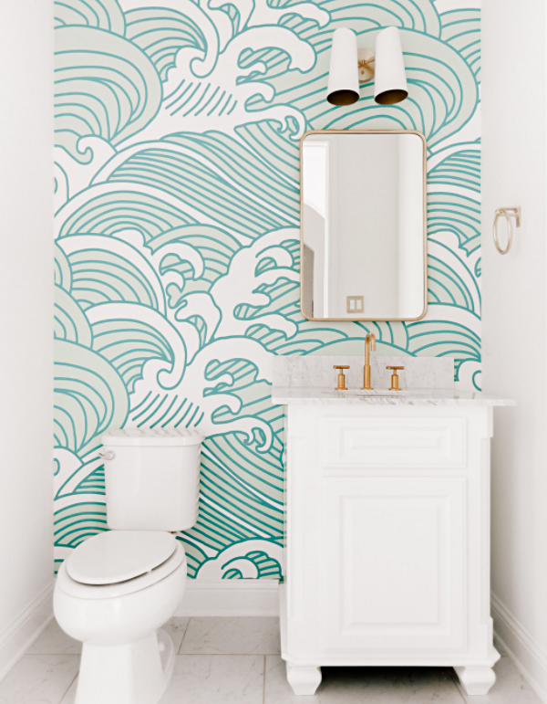 Pale Blue and White Beachy Bathroom