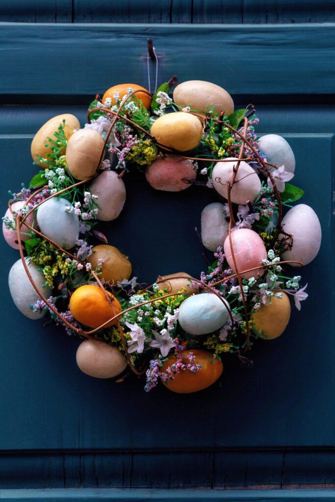 Natural Easter Egg Wreath on Navy Blue Door