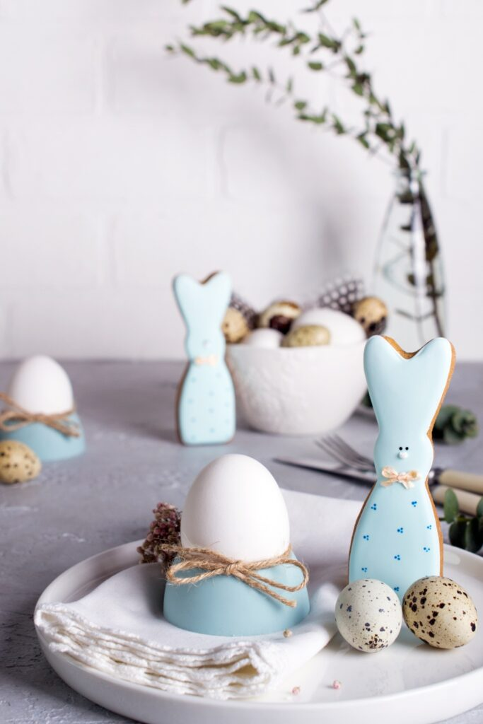 Homemade Easter cookies in the shape of  a  funny  bunny