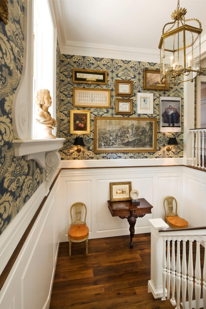 Staircase Landing with Wallpaper and Gallery Wall