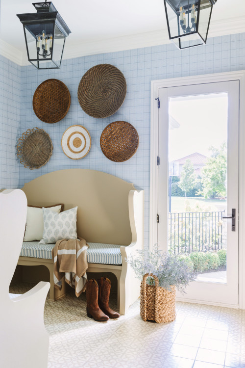 Light Blue Bathroom with Baskets on Wall