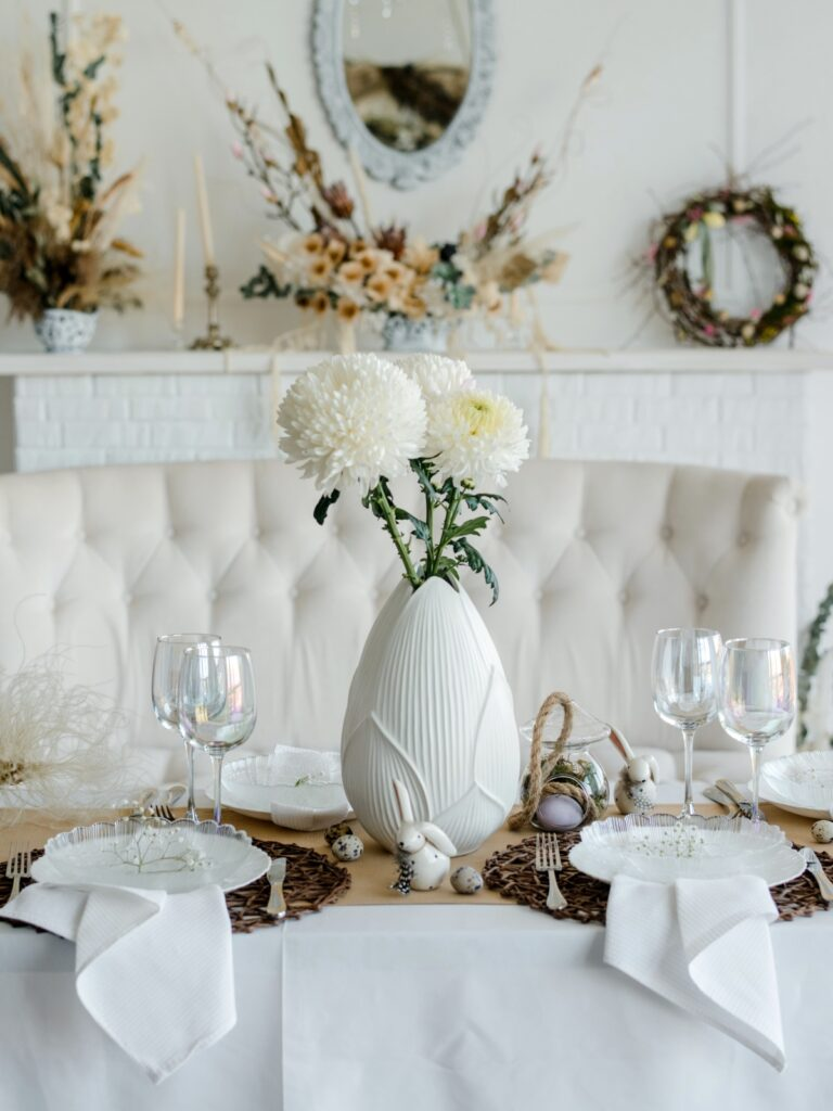 Elegant white and natural spring table setting