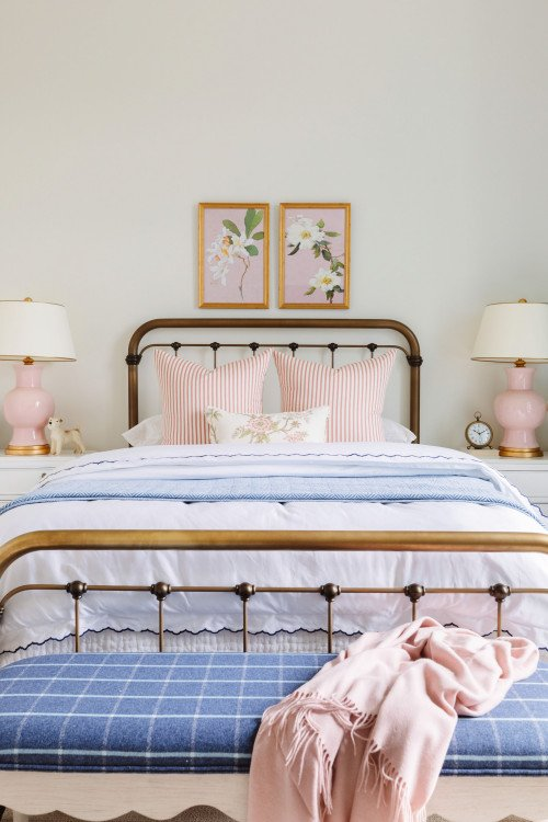 Pretty Pink and Blue Bedroom with Metal Bed