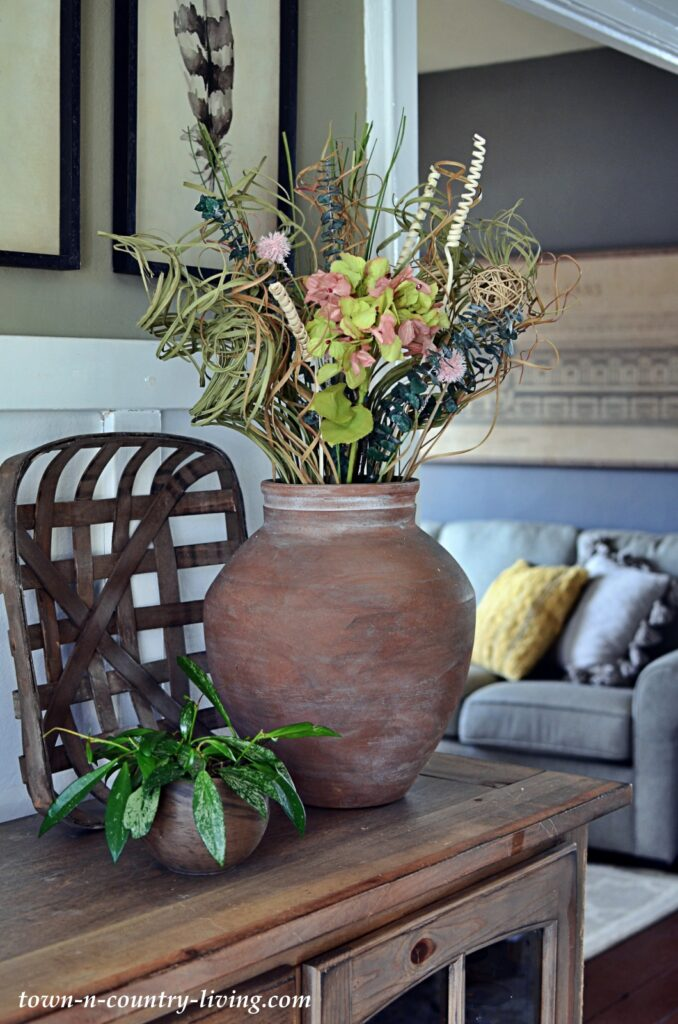 Stone Vase from Pottery Barn with Dried Florals
