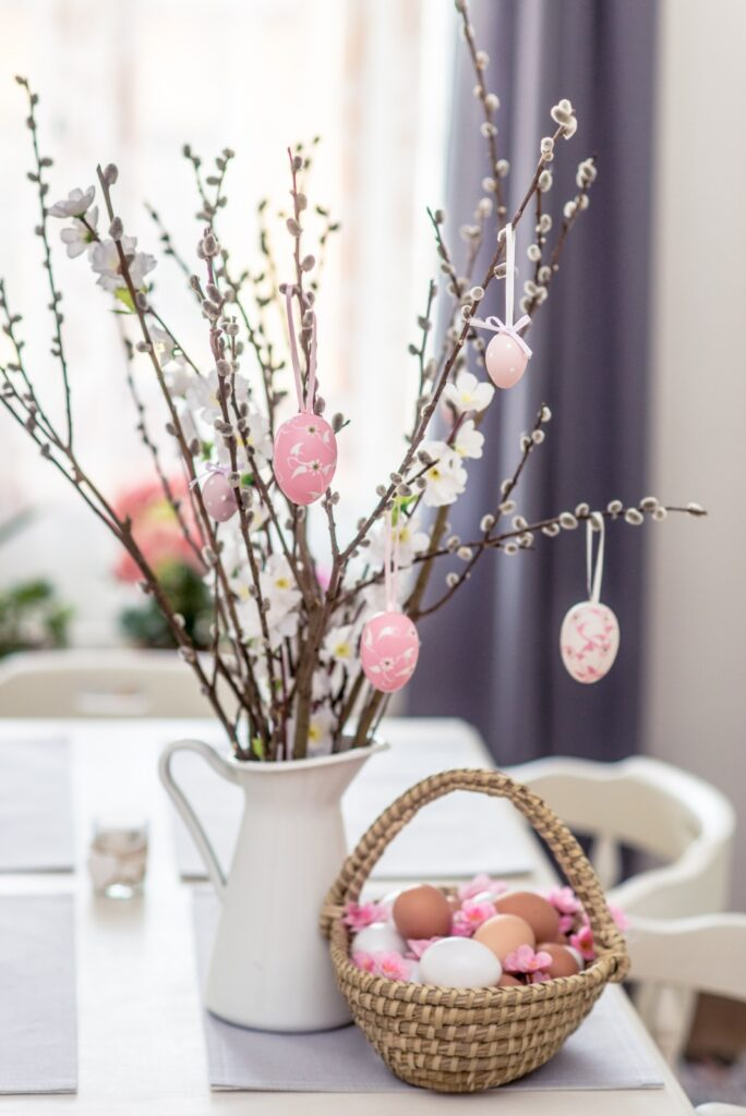 Pussy willow centerpiece with Easter eggs