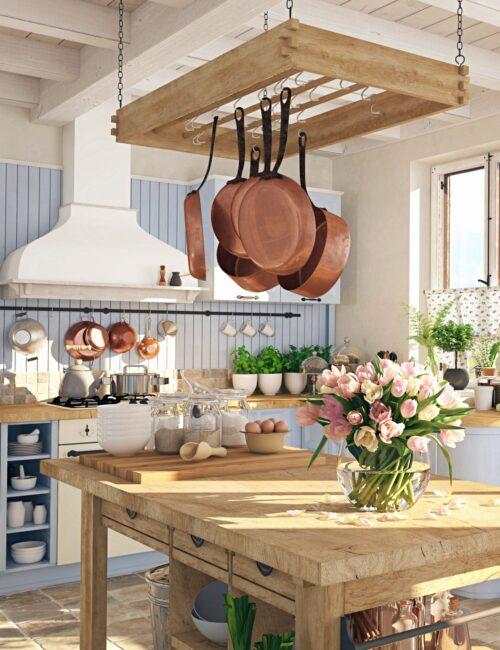 Blue Kitchen Cabinets in Scandinavian Style Kitchen