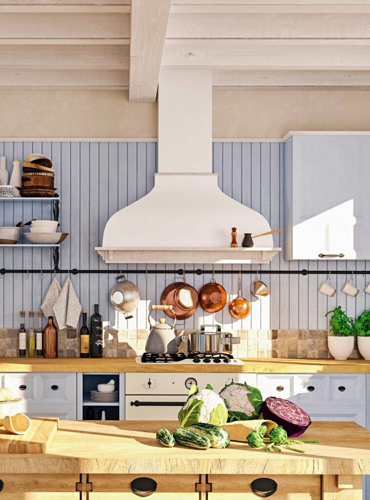 Scandinavian Cottage Style Kitchen in Pale Blue and White