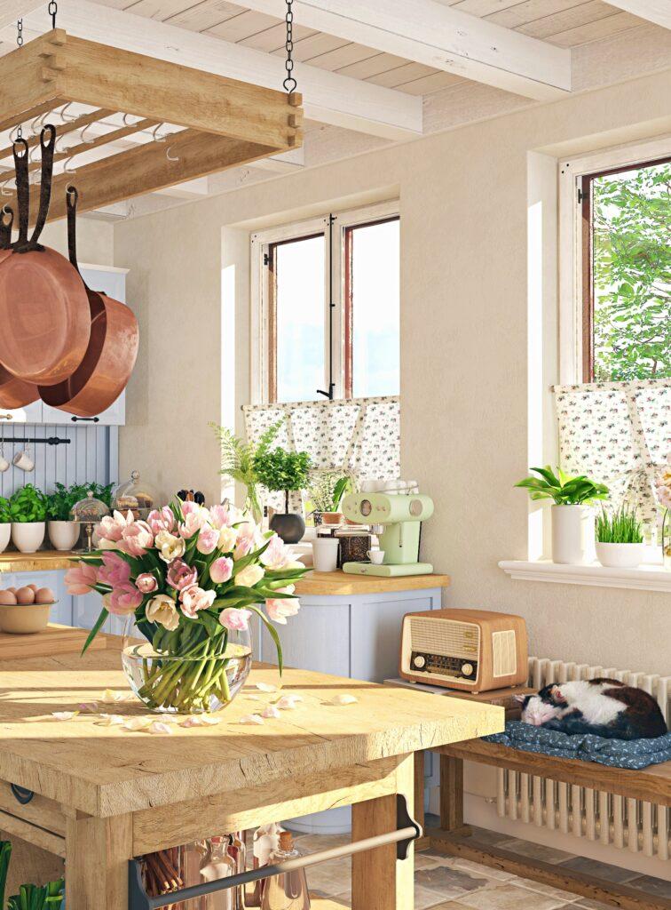 Flowers and Sleeping Cat in Scandinavian Kitchen
