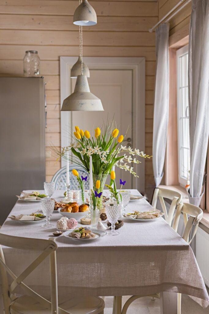 Scandinavian style Easter spring table setting