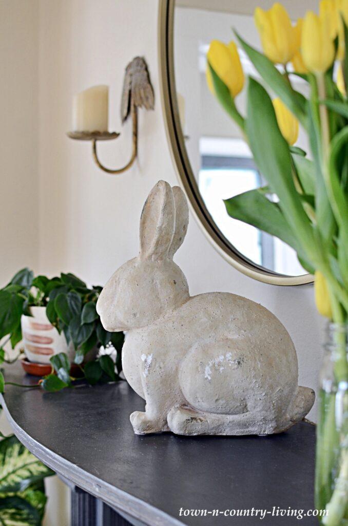 Pottery Barn Stone Rabbit on Vintage Mantel