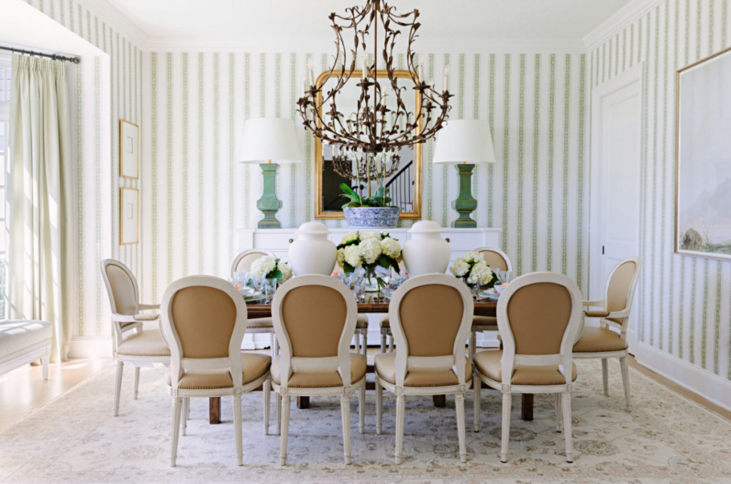 Large Formal Dining Room with Elegant Chandelier