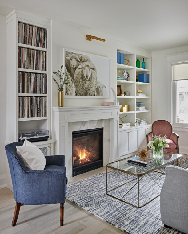 White Traditional Living Room with Fireplace