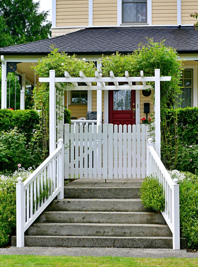 White Arbor with Garden Gate to Front Door
