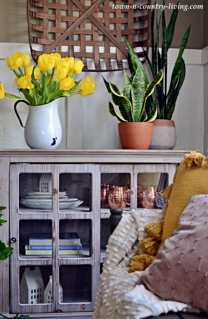 Yellow Tulips on Glass Door Cabinet with Sansaveria