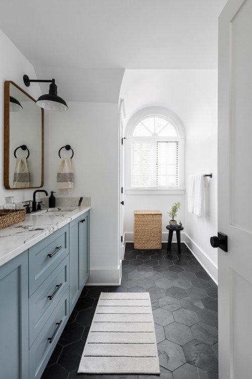 Blue and Black Bathroom