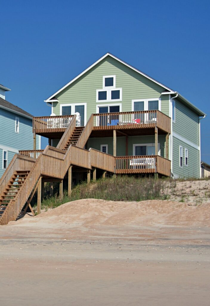 Oceanfront beach house with multiple decks