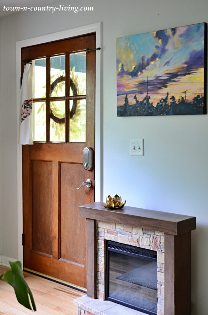 Solid Wood Front Door and Electric Fireplace