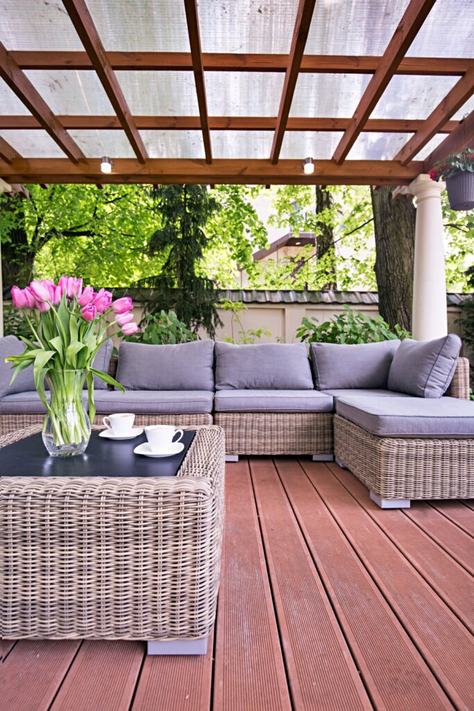 Covered deck and patio with elegant outdoor furniture
