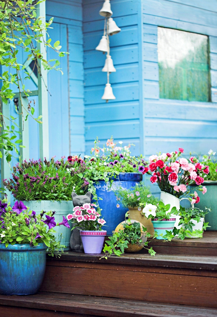 Front porch with array of potted summer flowers