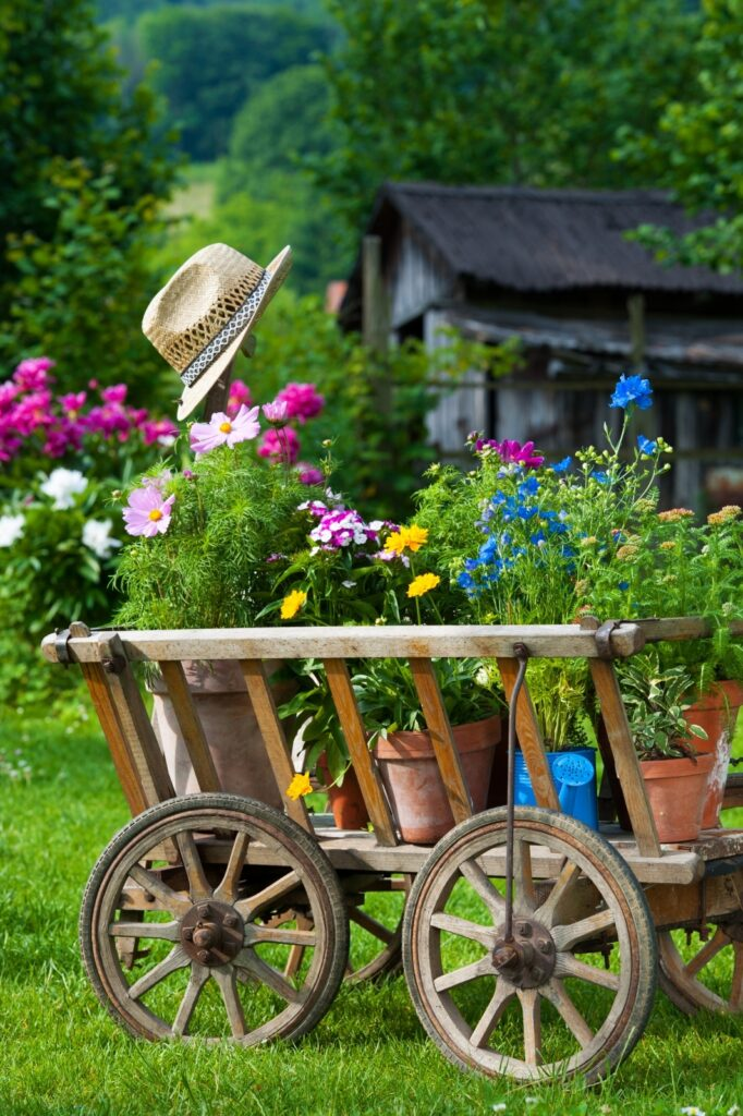 Wooden Wagon with Summer Container Flower Pots