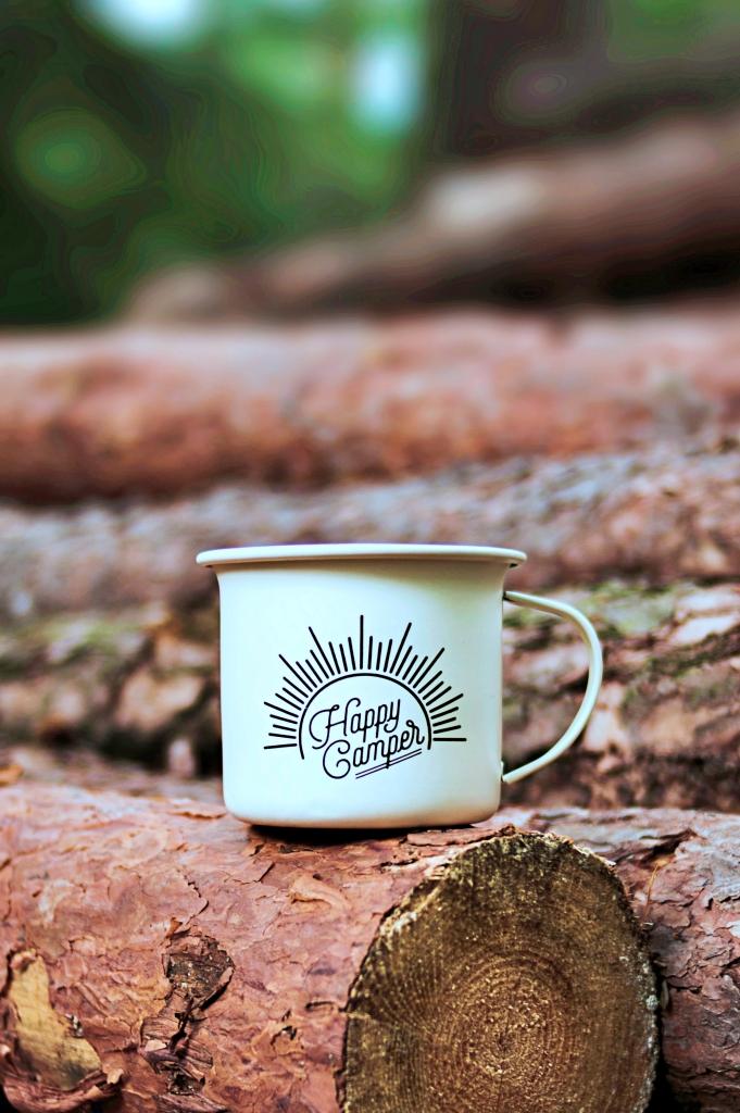 Happy Camper Enamelware Mug