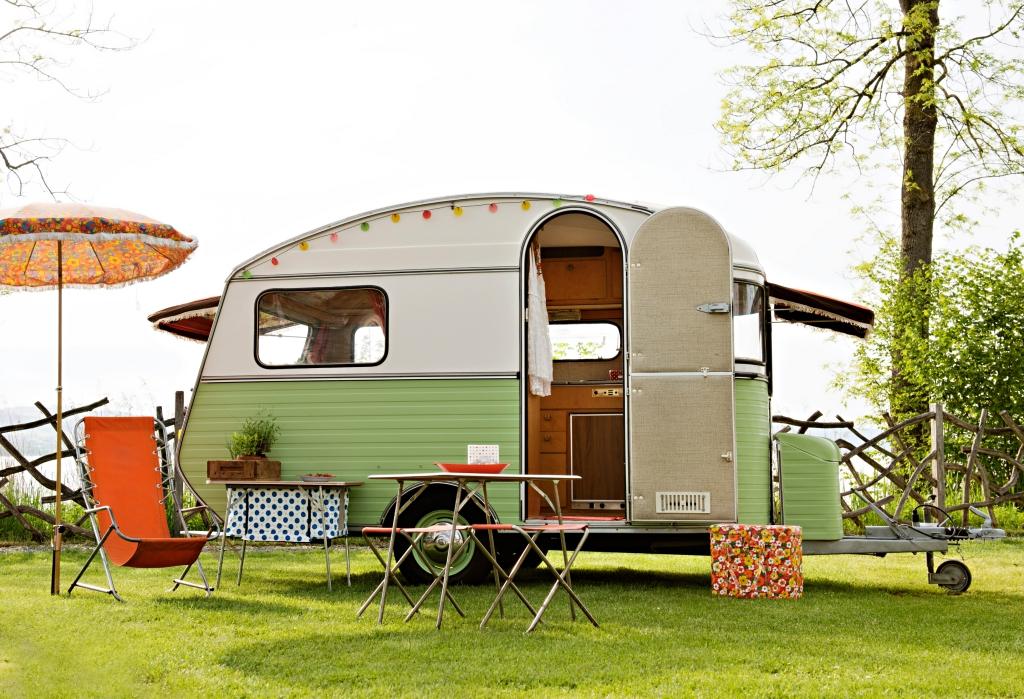 Light Green Vintage RV Camper