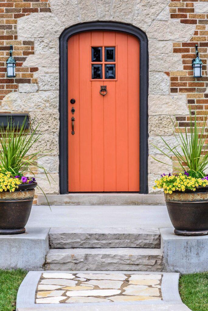 Bright Orange Arched Doorway
