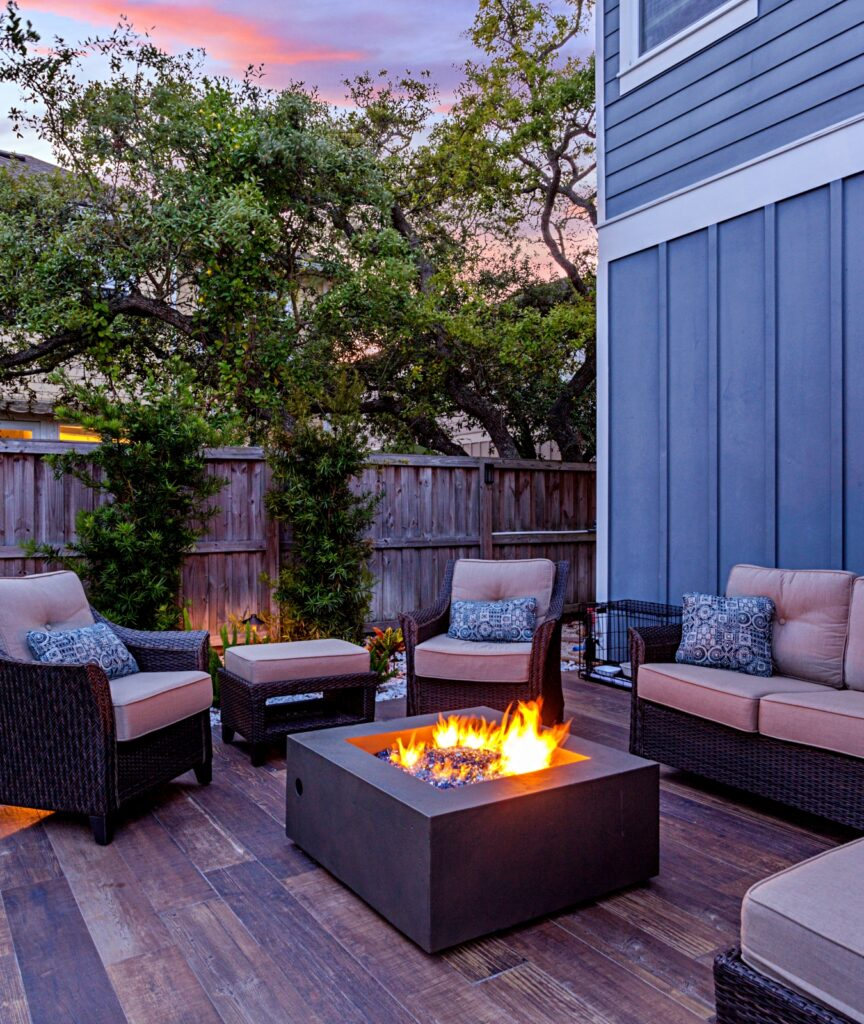 Beautiful backyard firepit at dusk