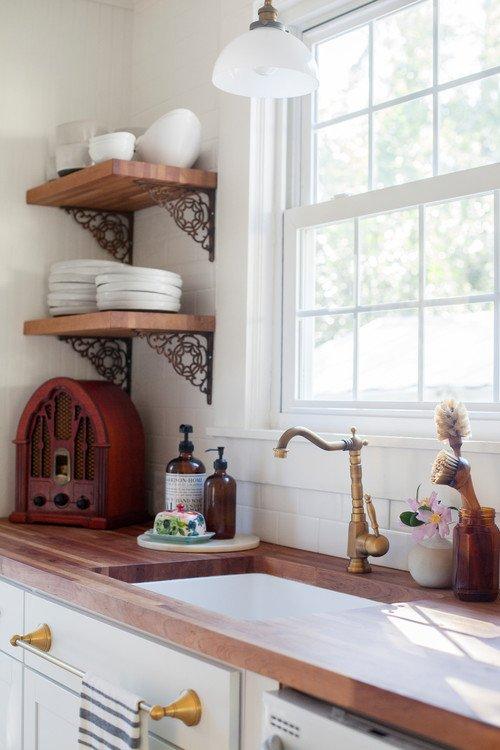 Carolina Cottage Kitchen with Vintage Wood Radio
