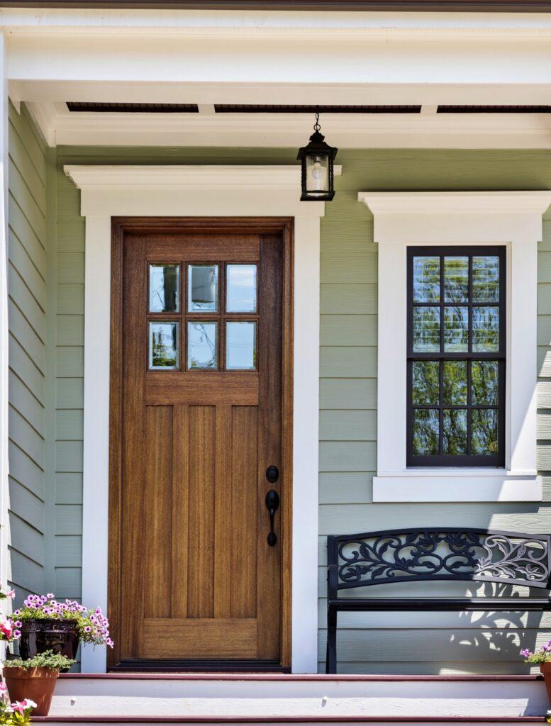 Wooden Door on Front Porch