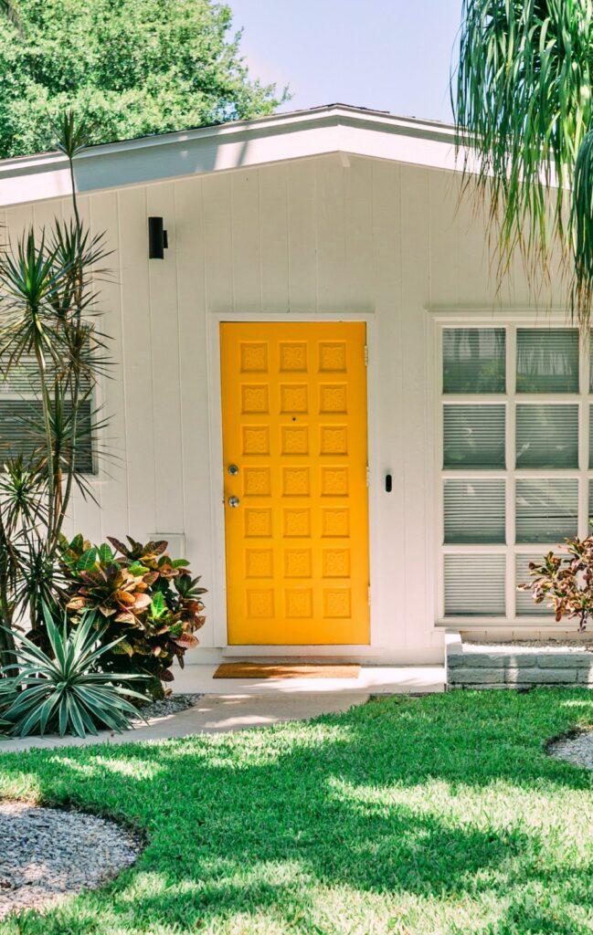 Yellow Door on Mid Century Modern House