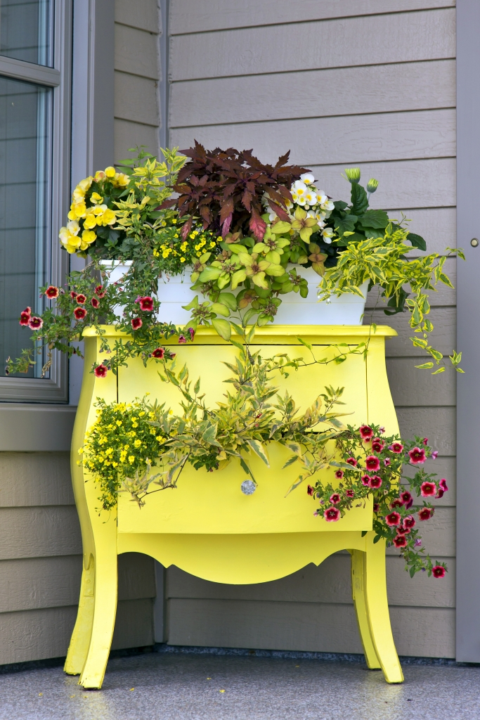 Vintage Yellow Dresser Converted to Flower Pot