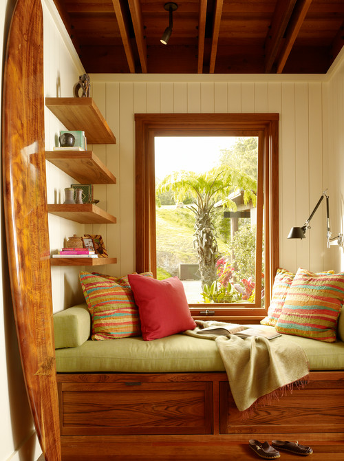 Craftsman style window seat and reading nook