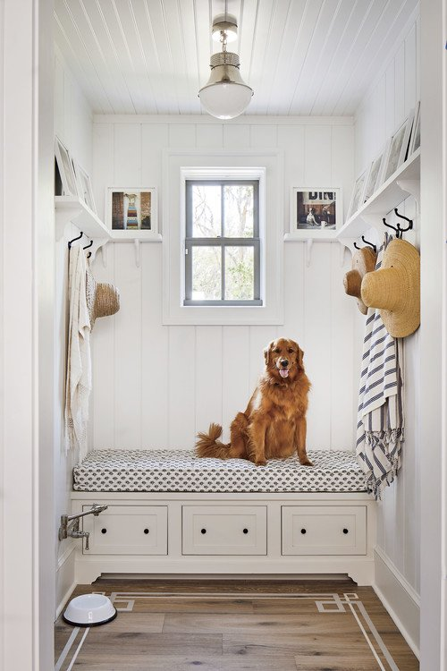 Farmhouse Mudroom with Pet Dog