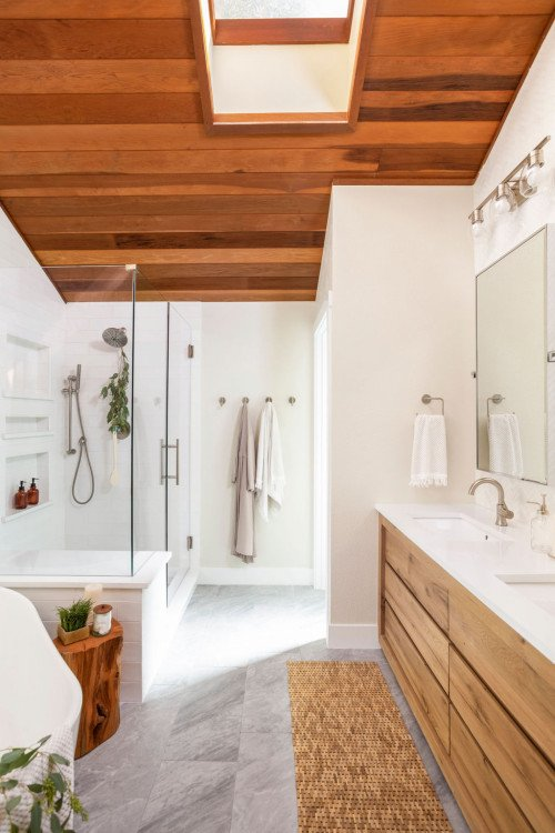 Renovated bathroom in 1960s ranch style house