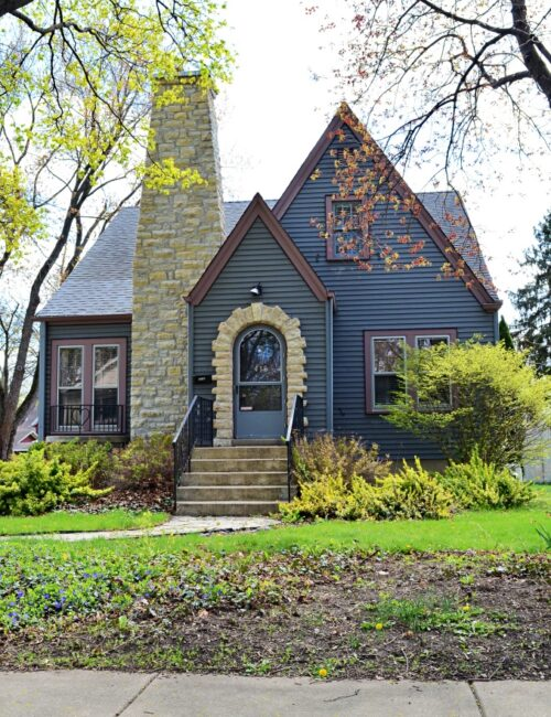 Dark Gray Tudor Home in Geneva, Illinois
