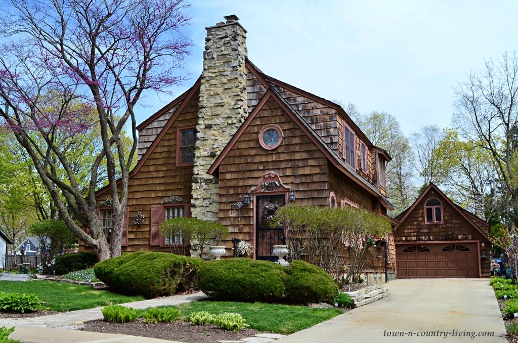 Brown Shingled Tudor Home in Geneva, Illinois