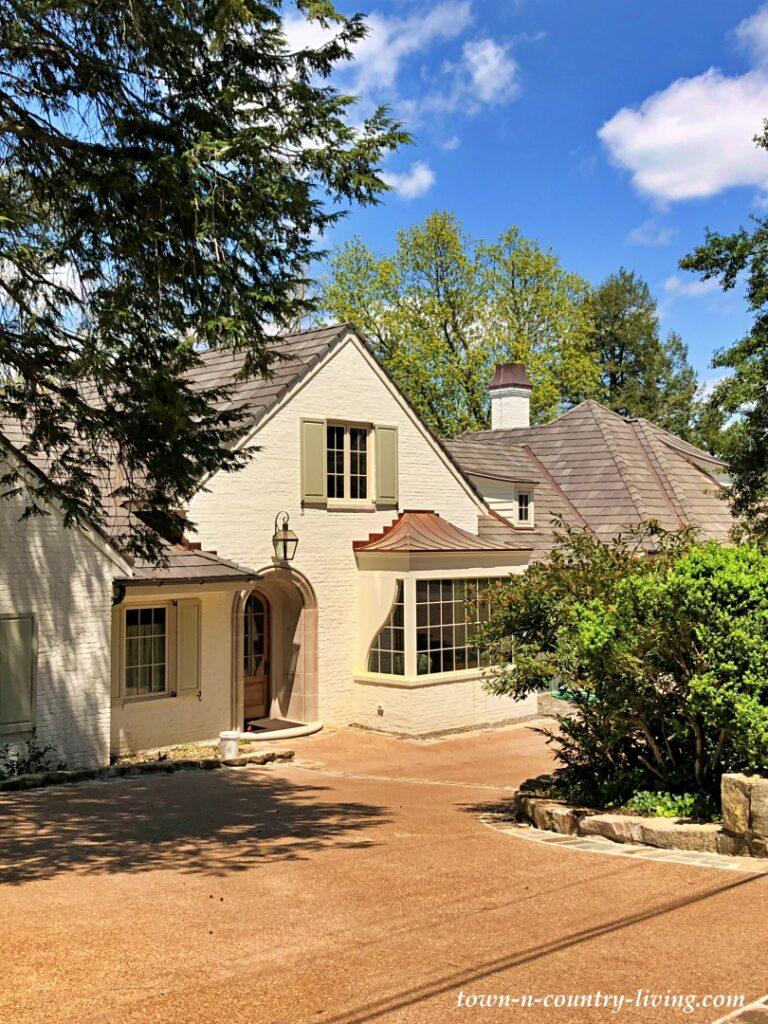 Cream-Colored Stucco Tudor Style House