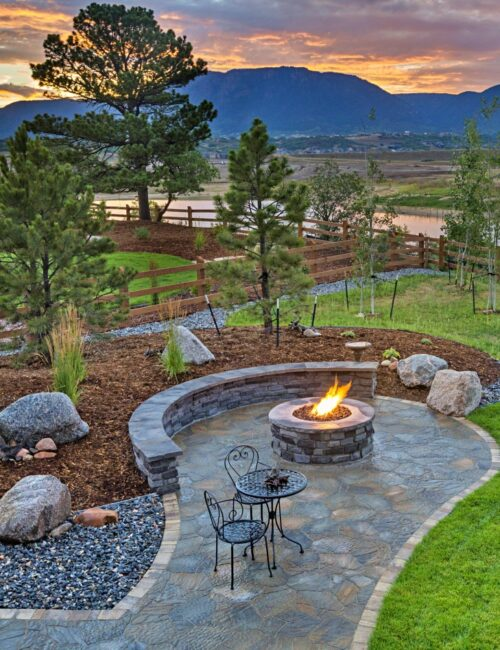 Beautiful Paver Patio with Landscaping and Fire Pit