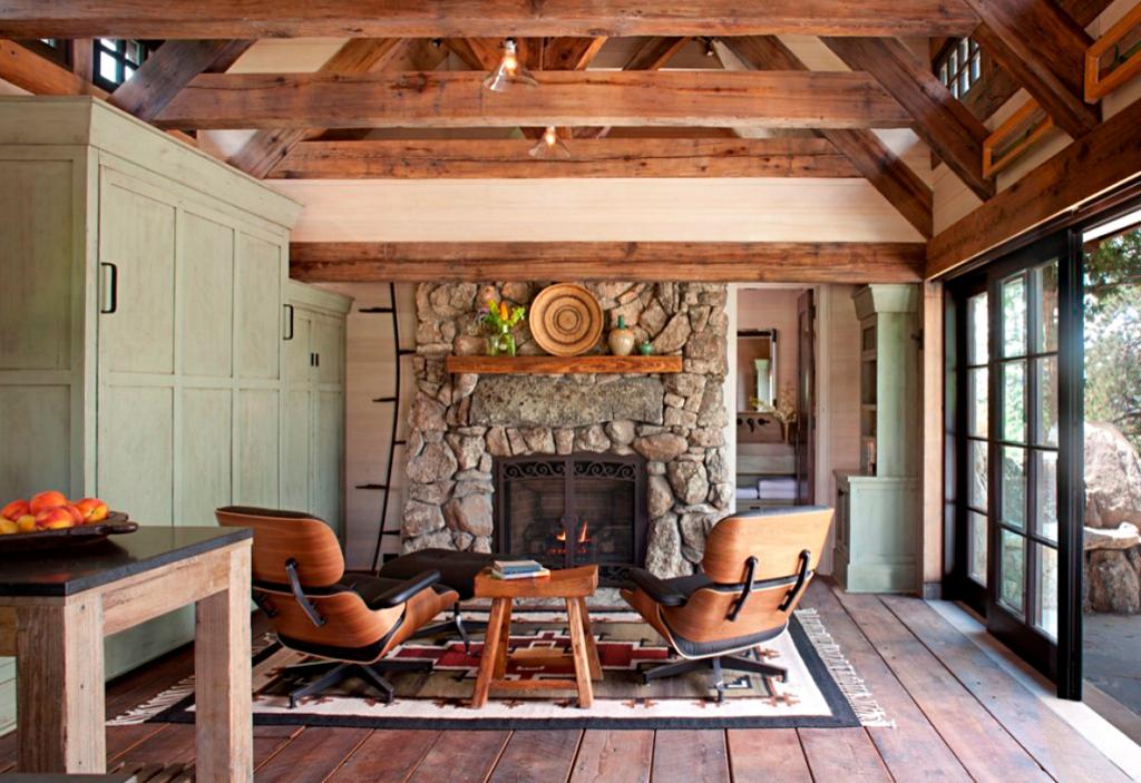 Rustic Cottage Living Room with Stone Fireplace