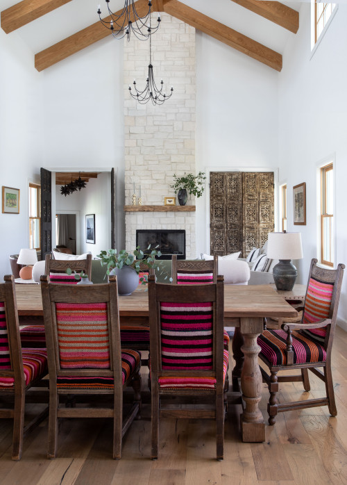 Texas Style Dining Room with Vaulted Ceiling