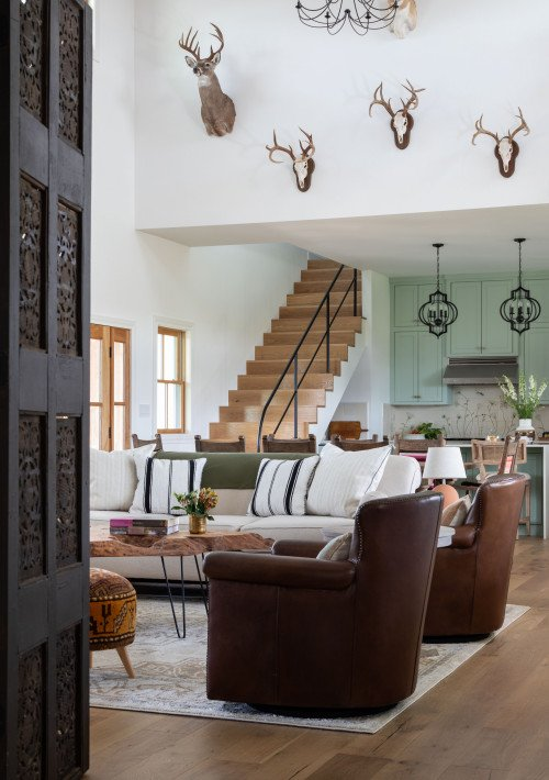 Texas Style Living Room with Antlers on Wall