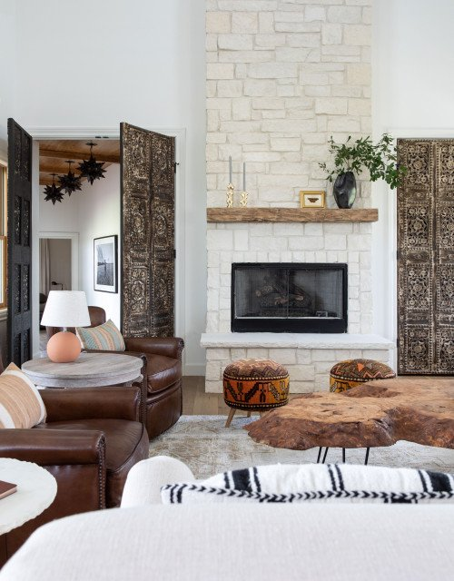 Light Gray Stone Fireplace in Living Room