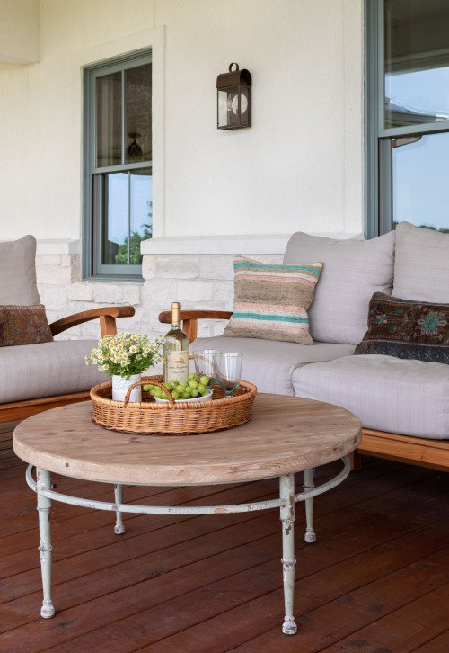 Outdoor Couch and Coffee Table on Front Porch