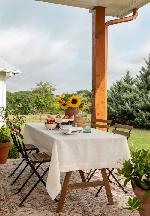 Farmhouse Dining Table on Back Porch