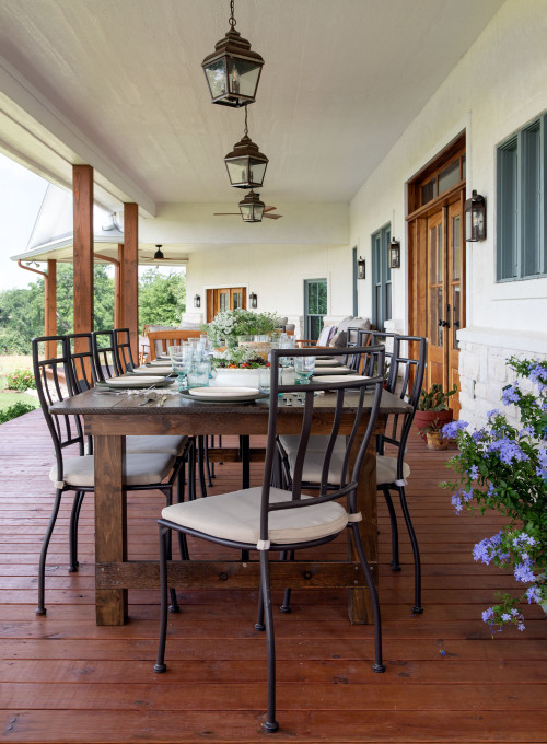 Outdoor Dining Table on Front Porch